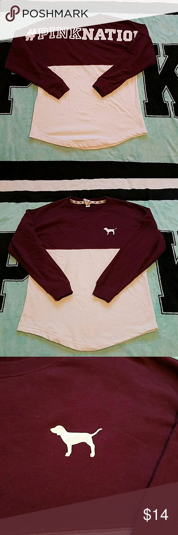 😊 Pink Nation sweatshirt Pink Nation on back, dog on front left, color block with burgandy and white, curved at bottom, worn once, looks like a speck of discoloration shown in last pic, not really noticeable, other than that it's great condition PINK Victoria's Secret Tops Sweatshirts & Hoodies