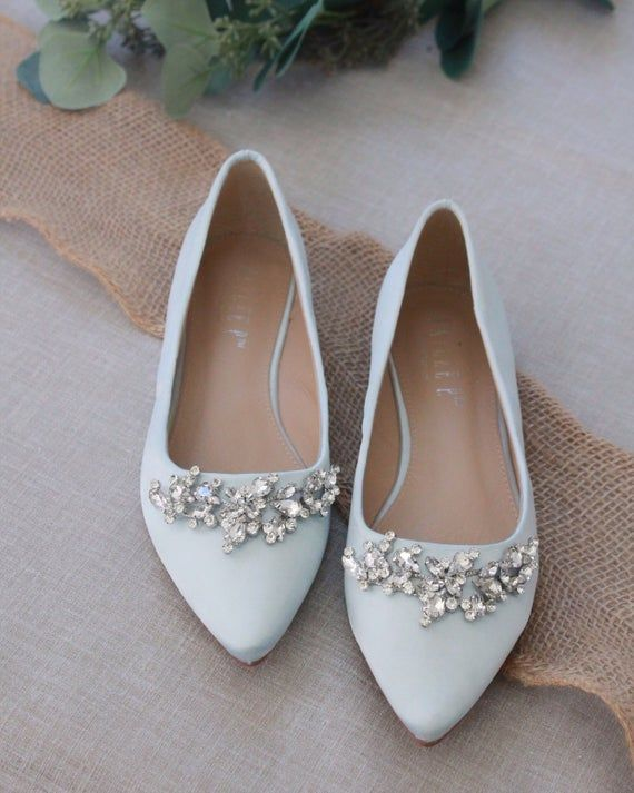 b57ac6f5637b0 LIGHT BLUE Satin Pointy Toe flats with sparkly LEAVES rhinestones ...