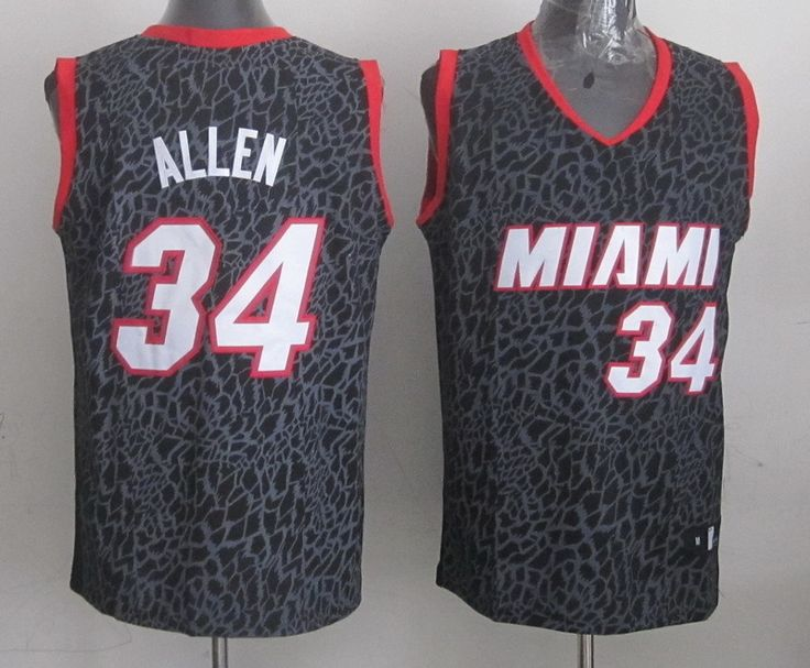 Men's NBA Miami Heat #34 Allen Crazy Light Swingman Black Jersey