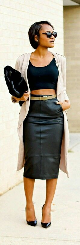 Black Leather Pencil Skirt / The Daileigh