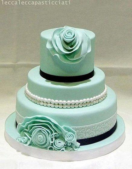 Classy!  ~ Aqua Ruffle, pearls and lace  Wedding cake ~ all edible