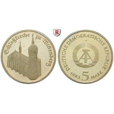 DDR, 5 Mark 1983, Schloßkirche, PP, J. 1588: Kupfer-Nickel-5 Mark 1983. Schloßkirche. J. 1588; Polierte Platte, verkapselt (nicht… #coins