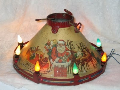 Vintage Christmas Tree Stand ~ Circa 1930's Noma Litho ~ Lighted Santa and Reindeer On Roof