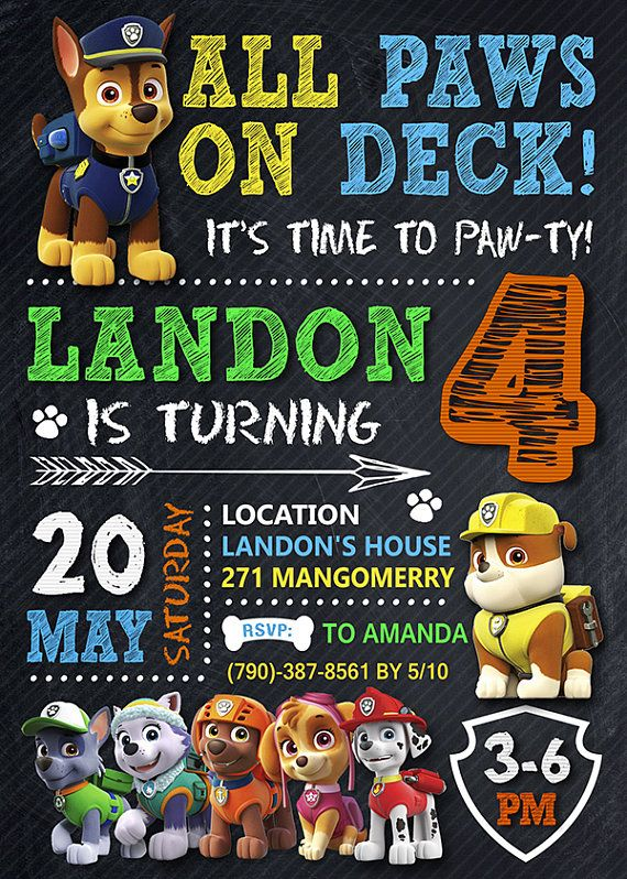 This listing includes 1 personalized printable photo birthday Paw Patrol invitation (JPG file high resolution - 300 DPI). !!! You will NOT receive anything in the mail, this is for a DIGITAL file only. !!! You will receive a JPG file is printed via email, there is no physical item to be