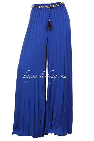 Hayaa Clothing - Chiffon Accordion Pleats Wide-leg Palazzo Pants - Royal Blue, $32.99 (http://www.hayaaclothing.com/chiffon-accordion-pleats-wide-leg-palazzo-pants-royal-blue/)