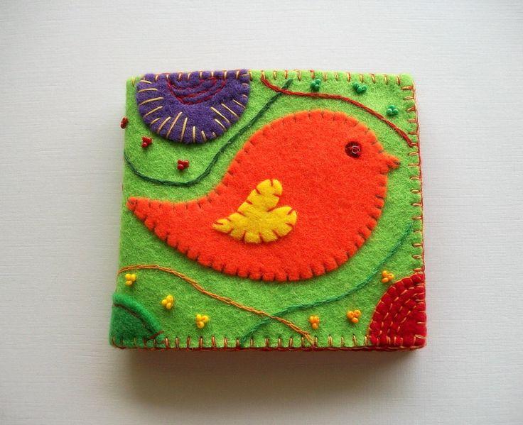 Felt Needle Case Spring Green with Folk Art Bird Handsewn. $23.00, via Etsy.