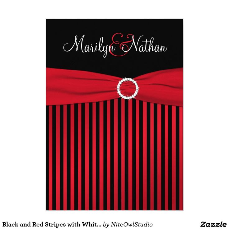 moroccan scroll wedding invitations%0A Black and Red Stripes with White Wedding Invite