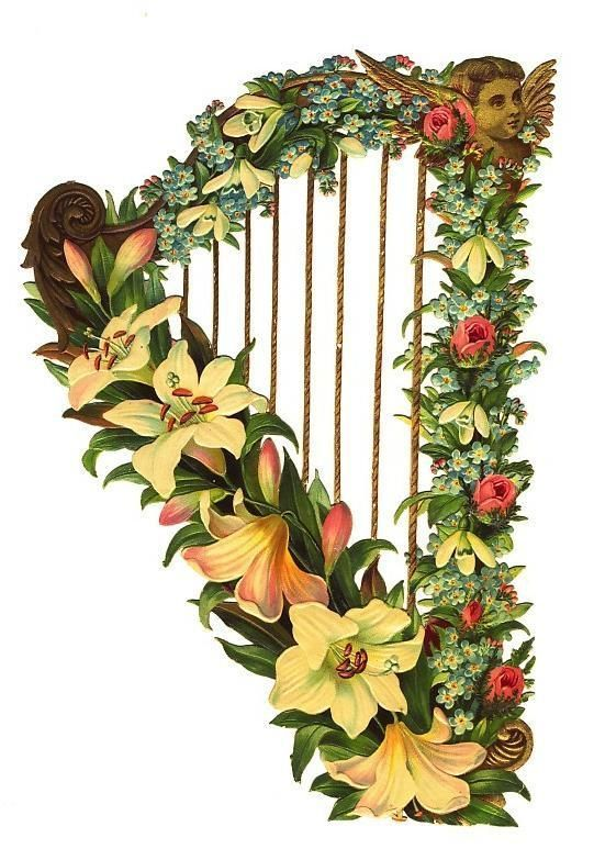 LARGE Victorian die cut HARP with flowers