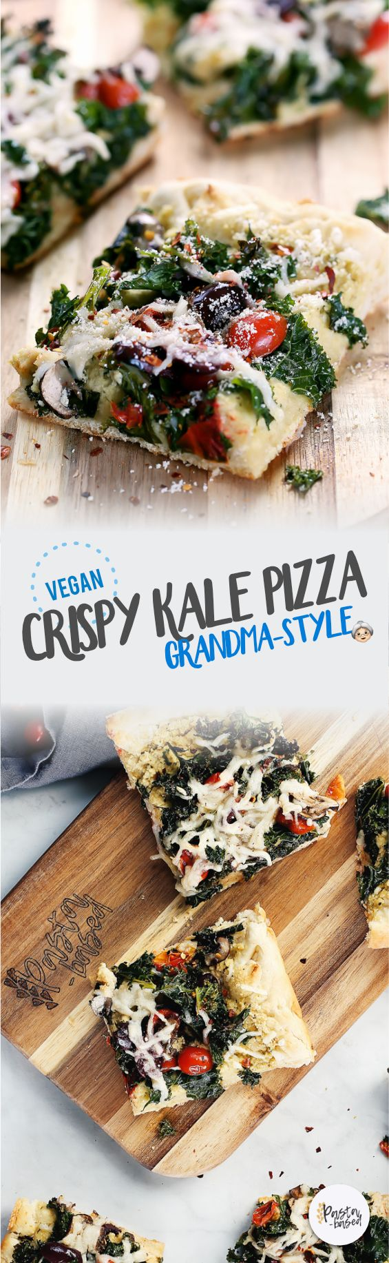 Vegan Grandma-Style Crispy Kale Pizza by Pasta-based. Made with homemade cashew ricotta and fresh kale shreds. Then, topped with melty vegan mozzarella cheese shreds and grape tomatoes.