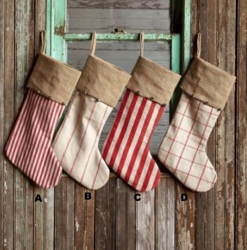 Vintage Style Stocking with Silver Jingle Bells