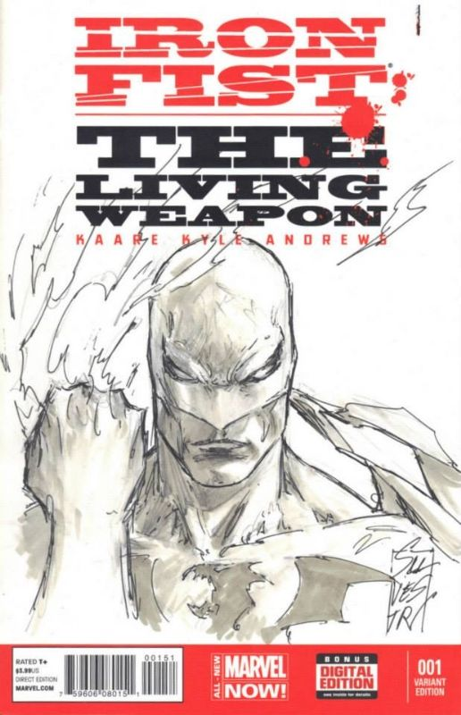 Book Cover Art Commission : Iron fist blank cover sketch variant commission by marc