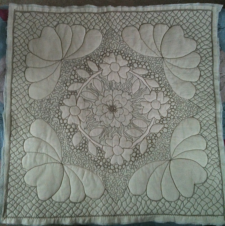 Trapunto with free motion quilting (fmq) fill, not perfect but I'm pleased with it.: Free Motion Quilting, Motion Quilts