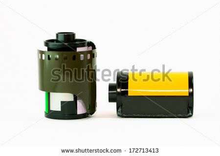 Retro negative film for 35 mm camera. - stock photo