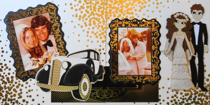 This is a fun wedding scrapbook page with a car and a bride & groom - from Me and My Cricut | Wedding Scrapbook 6 | http://meandmycricut.com