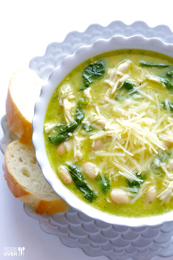 Gimme Some Oven | 5-Ingredient Pesto Chicken Soup | http://www.gimmesomeoven.com @gimmesomeoven