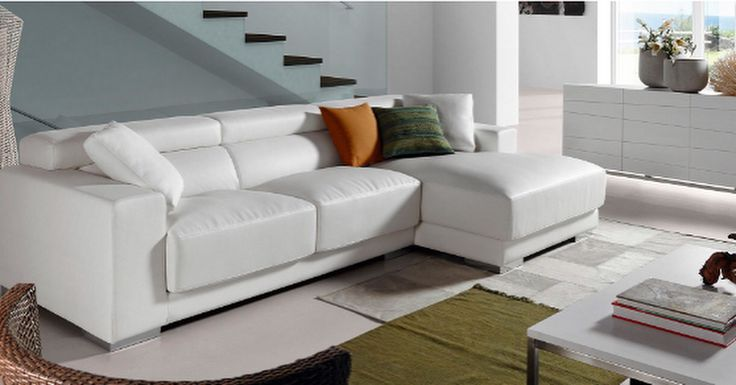Hjørnesofa i skinn modell SINGAPORE.  www.mirame.no #mirame #sofa #hjørnesofa #skinn #hvit #tvstue #stue #design #interiør #interior #design #inspirasjon #norge #norsk #interiørpånett #nyhet #singapore