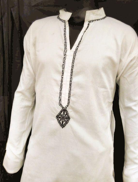 €36.55 EUR plus shipping Plus size White Dress Man kurta pattern Gift tunic shirt indiacotton salwar kameez saree Gypsy clothing halloween for mens yoga clothes sale