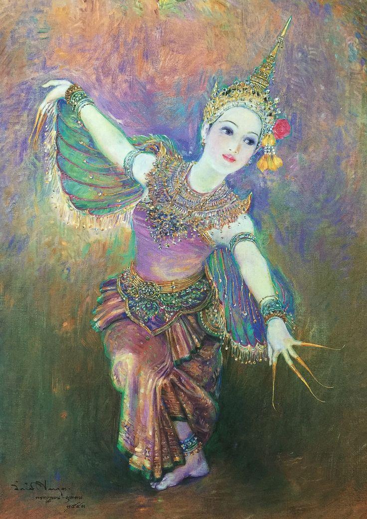 """Dance of Manorah"", 2000, oil on canvas, by a Thai national artist Chakrabhand Posayakrit"