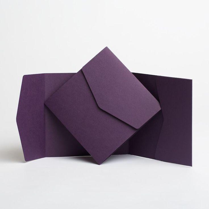 wedding invitations from michaels crafts%0A Dark Purple Matte WEDDING INVITATIONS  u     envelopes  Pocketfold invites