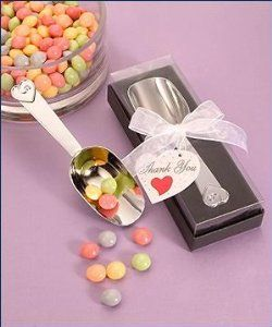 "Chrome Candy Scoops, 1 by FashionCraft. $3.25. Perfect Party Favor.. Practical wedding favor gifts.. Unique Gift Favors. Your wedding guests will love these wedding favors. Great for bridal showers.. Your guests will be thrilled to scoop up these sweet utensil favors at your special event. Fitting for a wedding, shower or any special occasion where favors are in order, these useful chrome candy scoops give your guests ""The Scoop on Love."" Each is 5"" long, has a singl..."