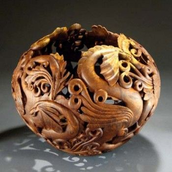 """""""Dragon Dance"""", 2003, made by Ron Fleming.  Redwood burl, 17""""x 19"""".  Collection of the Artist, NFS."""