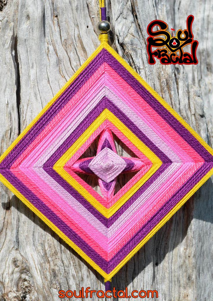 Ojo de dios simple (1 cara) de 4 puntas tejido con hilo de algodón egipcio  ❥…