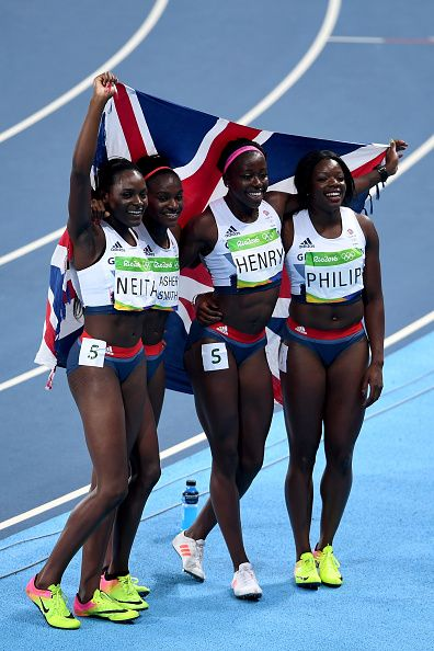 Asha Philip Desiree Henry Dina AsherSmith and Daryll Neita of Great Britain…