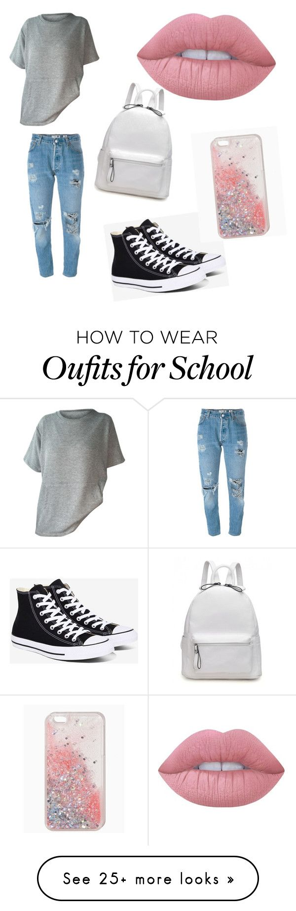 """""""Back to school"""" by reilly00 on Polyvore featuring Levi's, Converse and Lime Crime"""