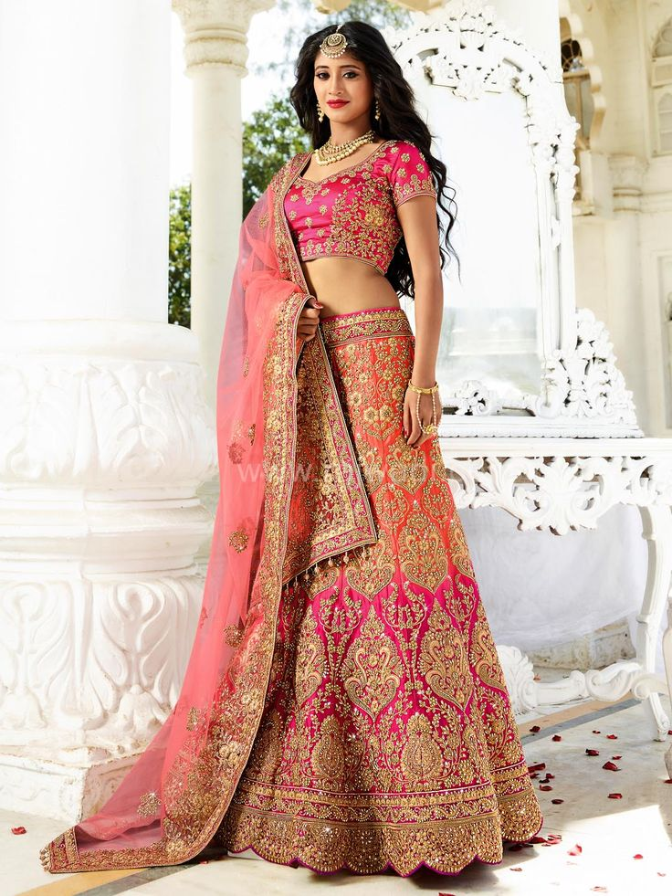 Peach and Pink shaded Color Lehenga Choli worn by Shivangi Joshi...  #shivangijoshi #rajwadi #lehengacholi #weddingseason #weddingdress #embroidery #lehenga #ethnicwear #bridalwear #designerwear #onlineshopping