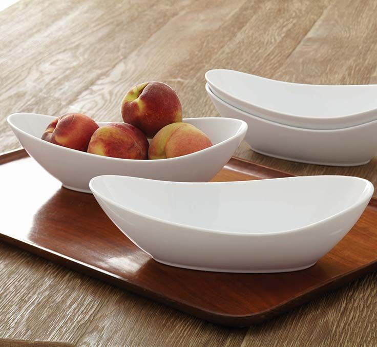 Better Homes and Gardens Oval Serving Bowl, White, Set of 4