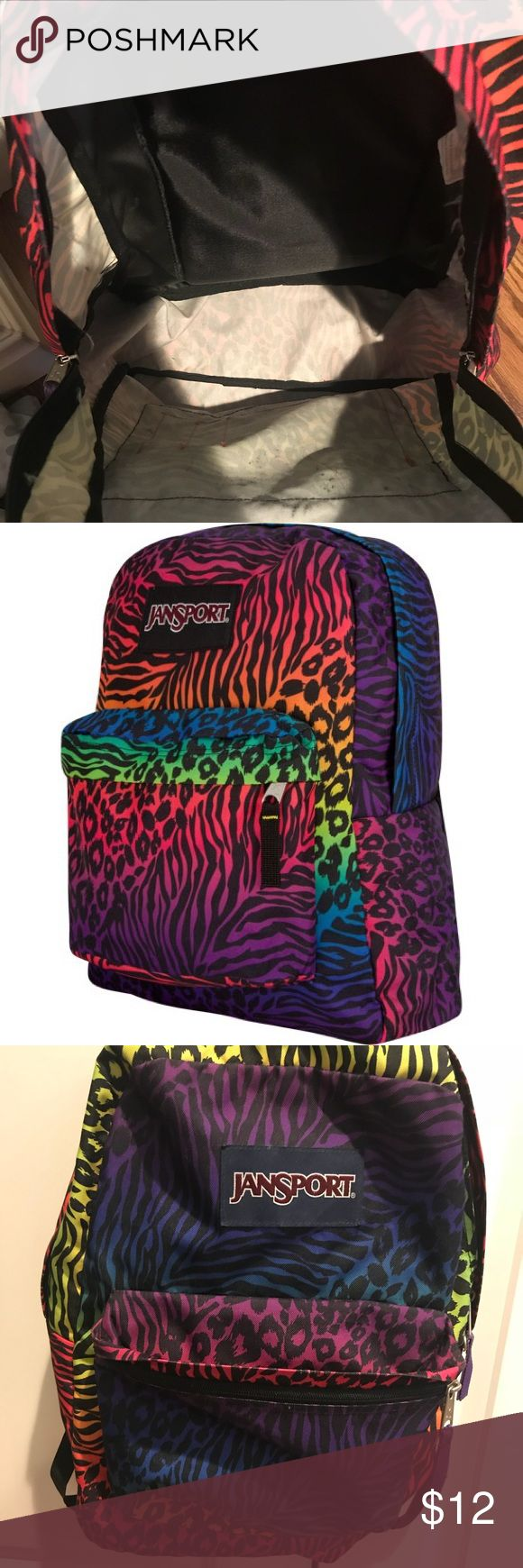 Jansport Colorful Animal Print Backpack •Adult Size Backpack •Zippers work, inside of bag shows signs of use. But otherwise great condition. •Willing to negotiate price Jansport Bags Backpacks