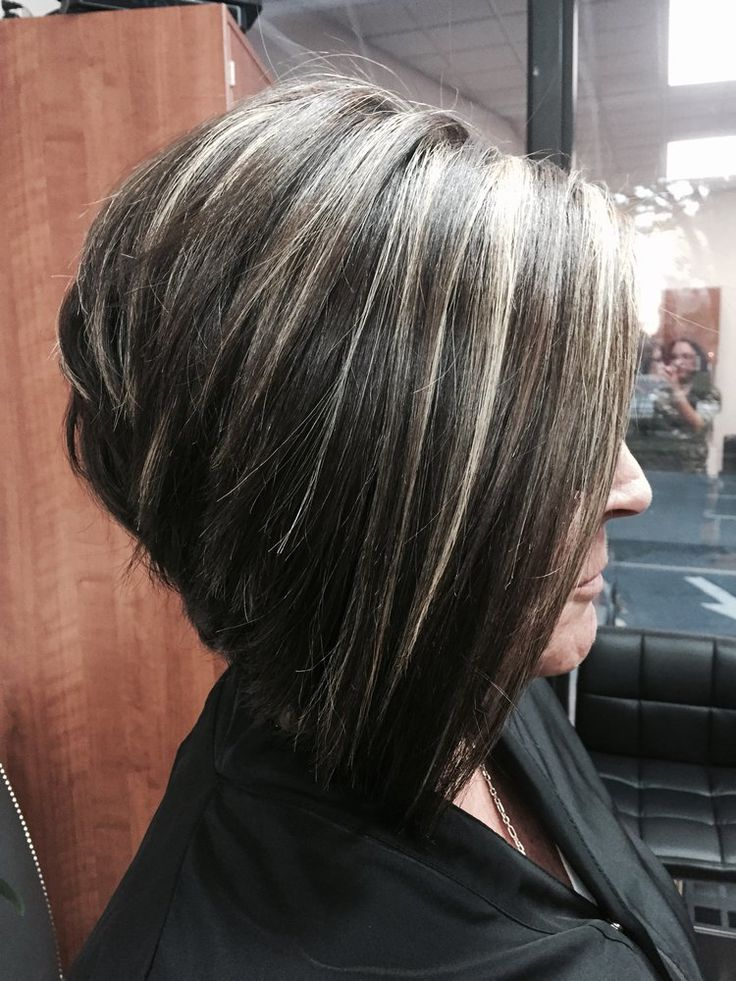 highlight styles for brown hair dramatic cut with chunky platinum highlights 7059