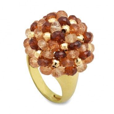 Εντυπωσιακό δαχτυλίδι χρυσό Κ18 με πολλές μικρές ορυκτές κίτρινες-πορτοκαλί-καφέ πέτρες τουρμαλίνη και σιτρίν σαν θάμνος | ΤΣΑΛΔΑΡΗΣ στο Χαλάνδρι #τουρμαλινη #citrine #χρυσο #δαχτυλίδι