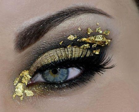gold rush gold with gold leaf dark eye makeup fantas a pinterest bold eye makeup gold. Black Bedroom Furniture Sets. Home Design Ideas