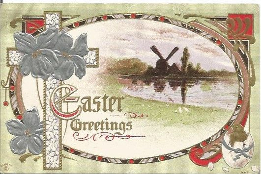 Windmill Reflected in Pond Easter Greetings Vintage Postcard Easter Greeting by postcardsintheattic on Etsy