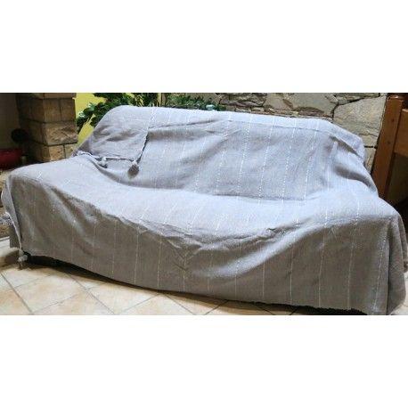 couvre canapé laine pompons gris rayures argent