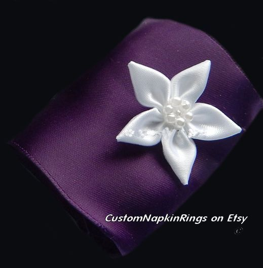 Formal DEEP PURPLE Satin Napkin Rings w/White Satin Floral & by CustomNapkinRings | Etsy