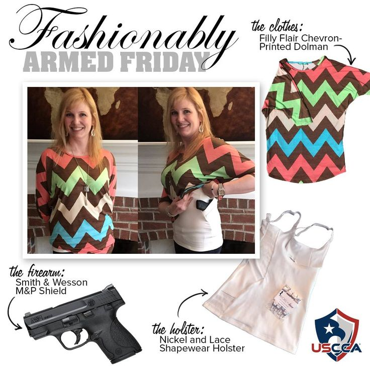 Beth is concealing her Smith & Wesson M&P Shield with her Shapewear holster by Nickel and Lace under her Filly Flair Chevron Printed Dolman.