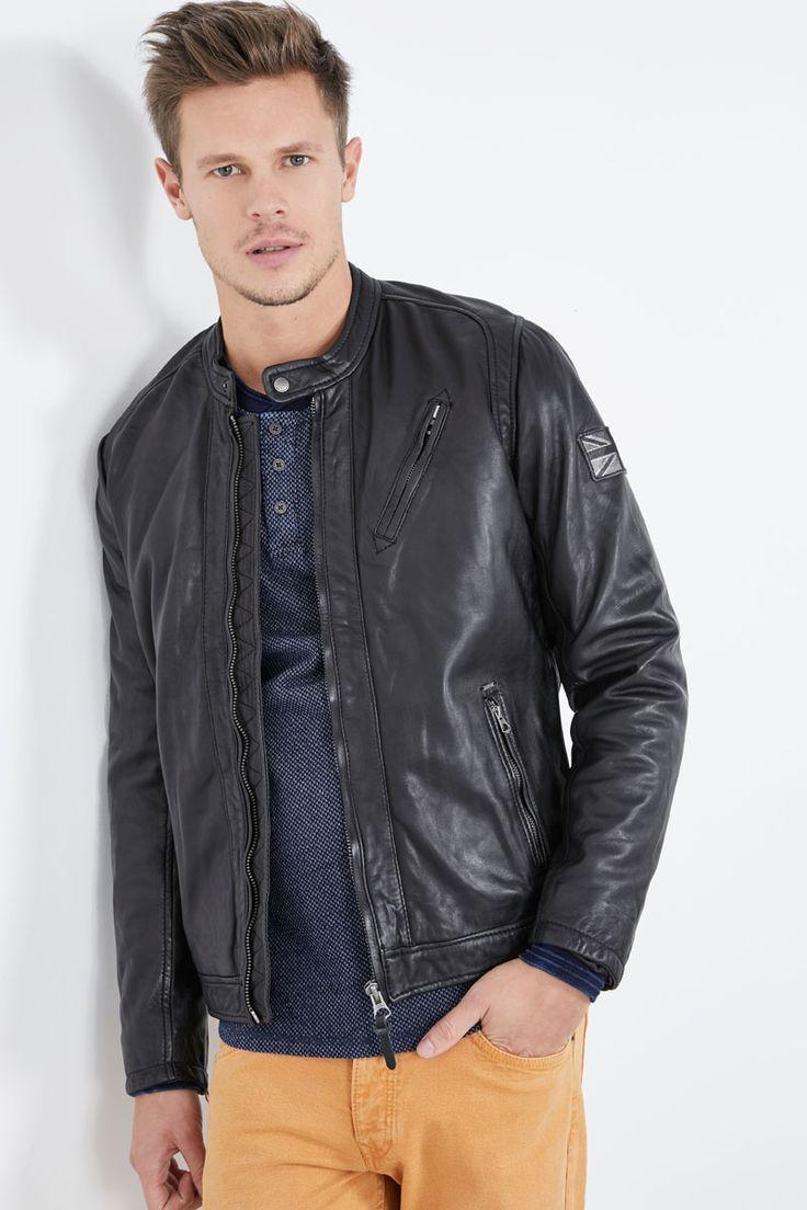 Venda Pepe Jeans / 28240 / Homem / Casacos, sobretudos e blusões / Casaco de couro de carneiro Preto