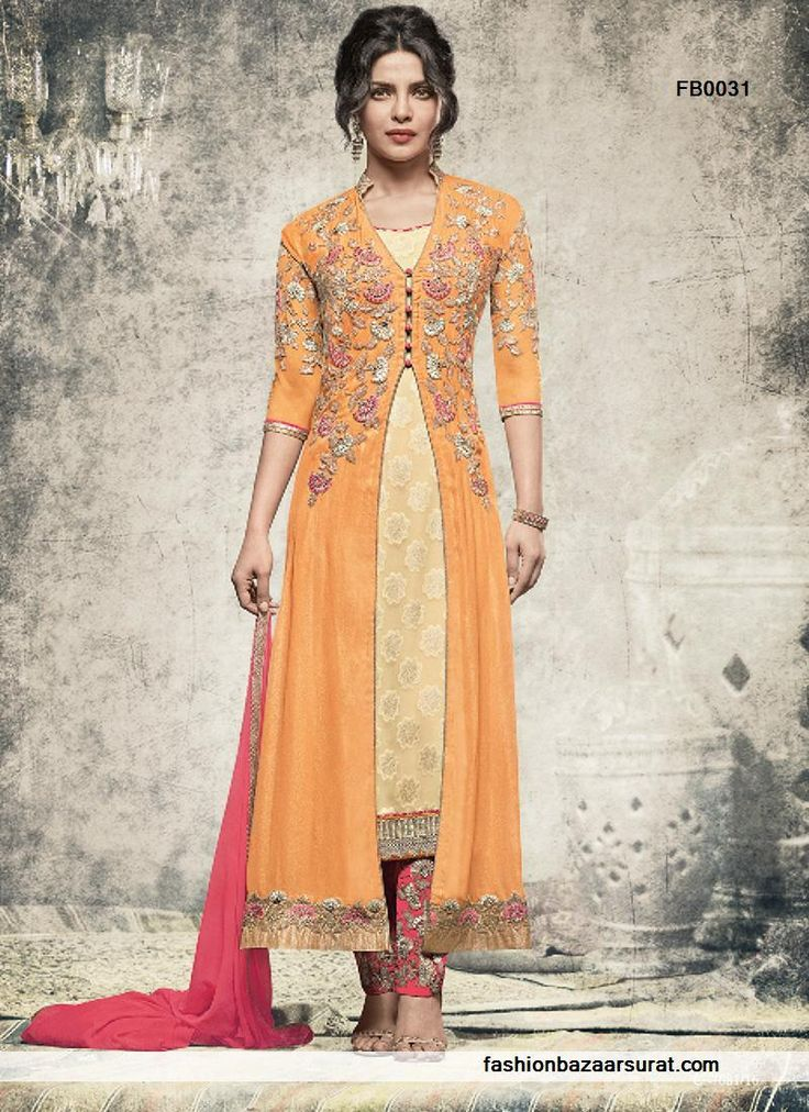 buy  Priyanka Chopra Praiseworthy Pink And Orange Straight Cut Churidar Salwar Suit online, buy Salwar Kameez online,  Salwar Kameez online shopping