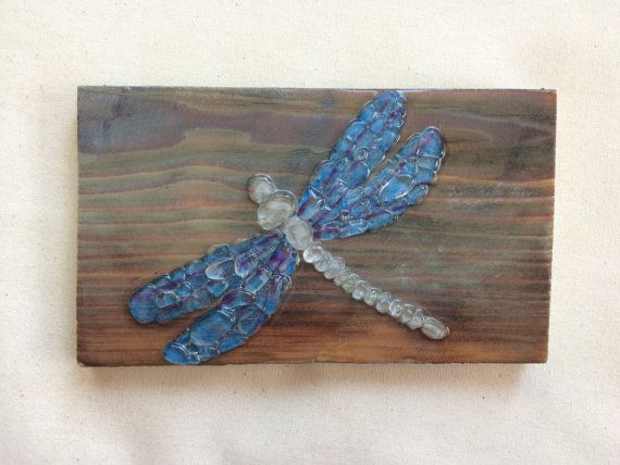Sea glass art Dragonfly wall hanging sea glass beach by SignsOf