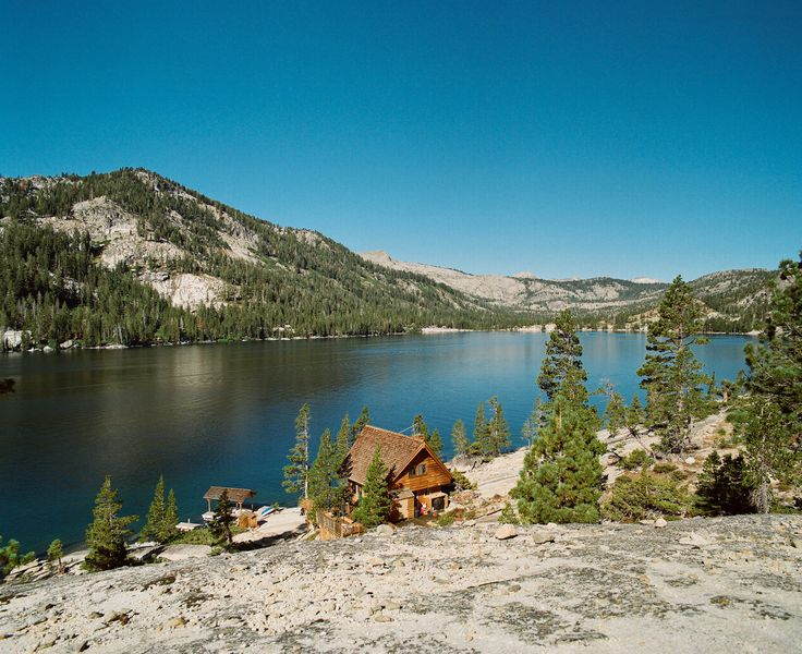 Cabin at Echo Lake, California, USA accessible only by boat or trail.