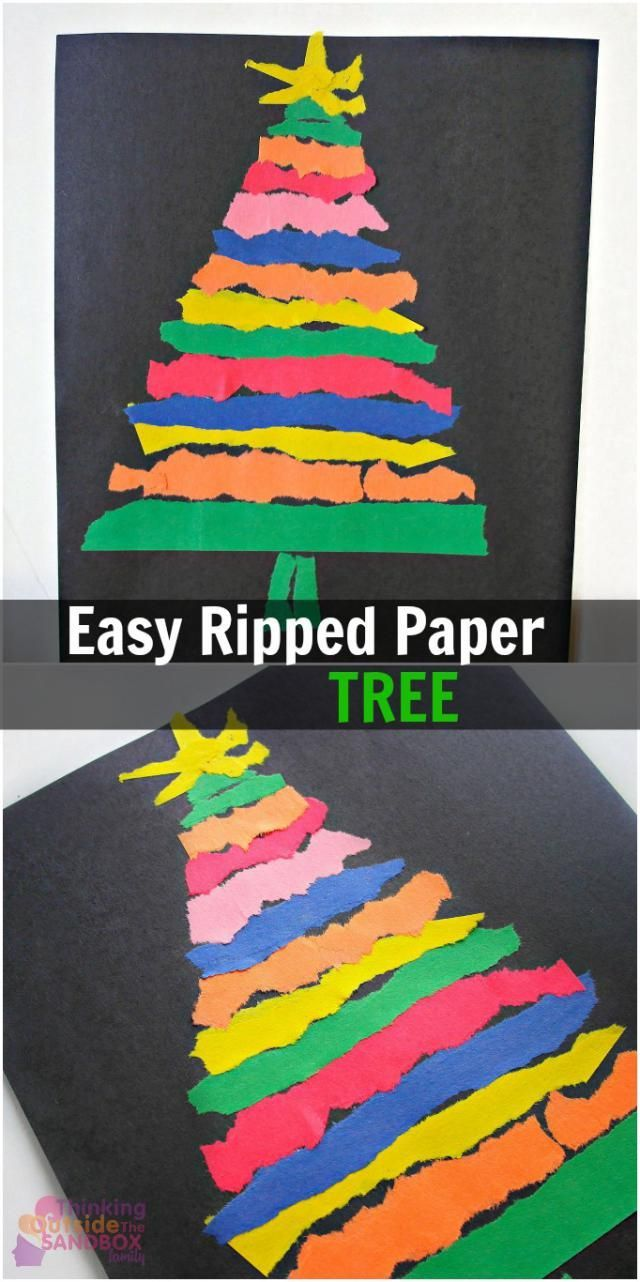 12 Christmas Tree Crafts for Kiddos: Easy Ripped Paper Tree Craft