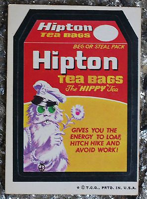 Vintage-Wacky-Packages-Sticker-Trading-Card-Hipton-Tea-Bags-Tan-Back