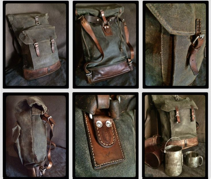 Swiss Army Canvas & Leather roll top military rucksack - 1950's Vintage, reconditioned.