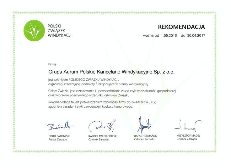 Polski Związek Windykacji Rekomendacja