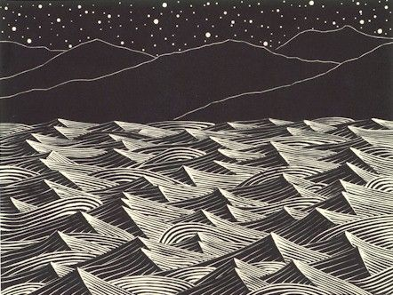 """""""Bright and Windy Night"""" is an original wood engraving by John Balkwill.  Edition size of 175.  Represented by Island Arts International and sold at Rose City Framemakers, Madison, NJ."""