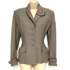Vintage Womens Suit Jacket Lilli Ann of San Francisco Grey Red Navy