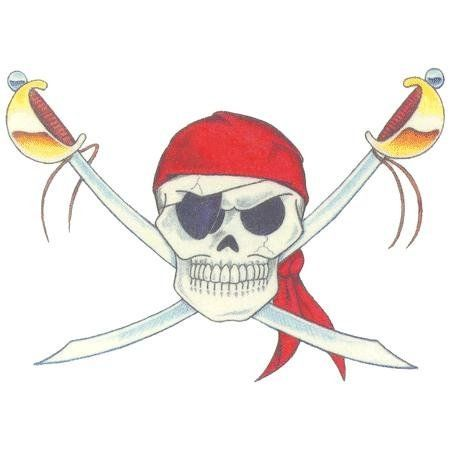 Pirate Skull by California Tattoos, Inc.. $0.75. In Stock. 2.5x3.5. Chrome. Temporary Tattoo. Temporary tattoo of cross swords with a pirate skull on top. Easy to apply directions included. Tattoo is made with FDA approved inks and lasts for days. Made in the USA. Size is approximate.