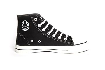 Black/White Hi Tops (Kids) - Fair Trade Shop. 'They may look similar to a well-known brand but these bad boys are radically different. Read more on our website.' #shoes #sneakers #fairtrade #kids